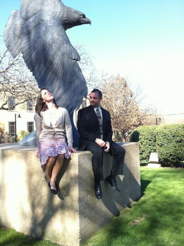 Lauren Smith and John Ruiz pose with UNT Eagle